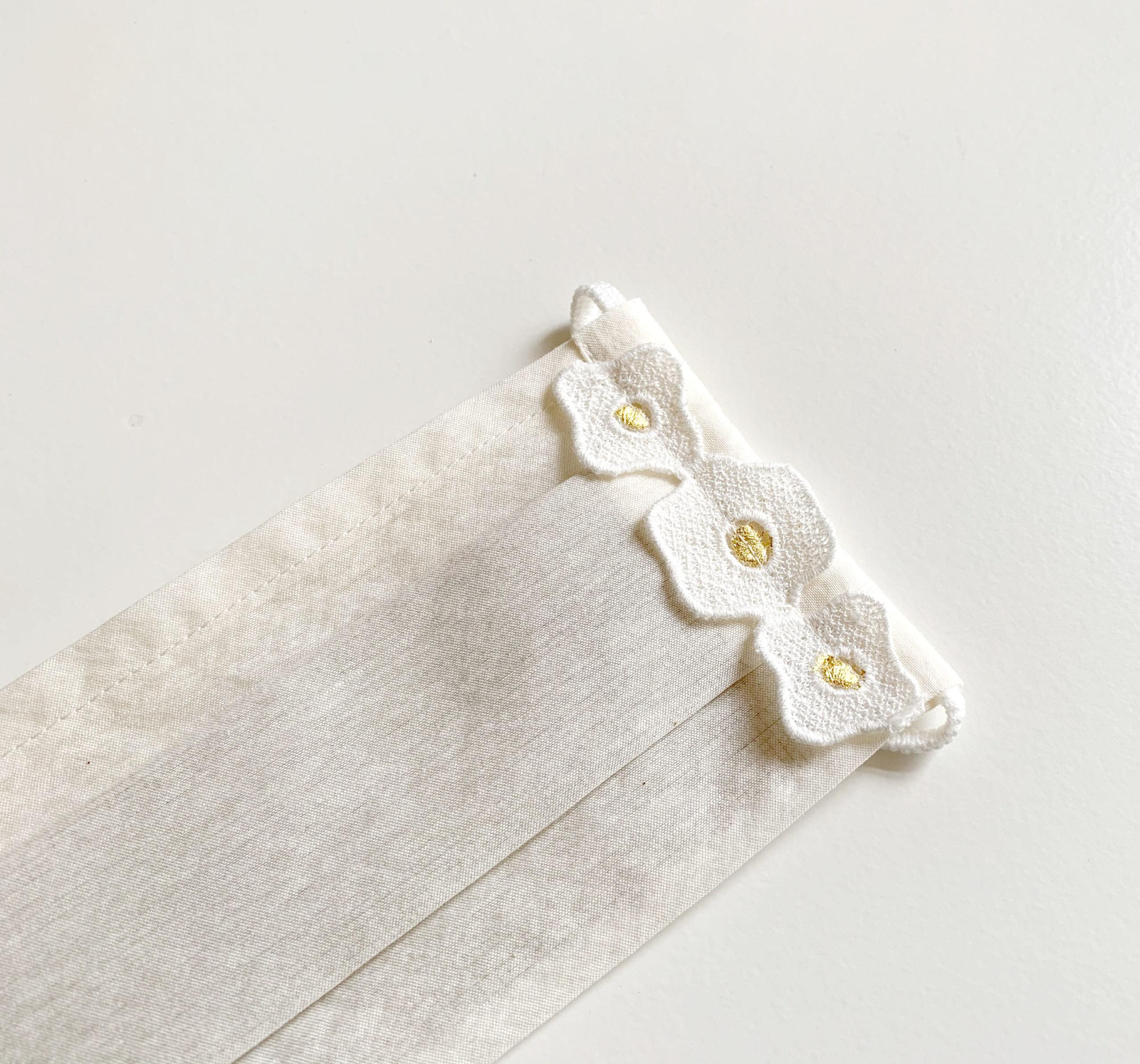 お出かけマスク、ワンタックプリーツマスク「金箔レース花G」医化学的繊維と銀の糸を使った抗菌防臭