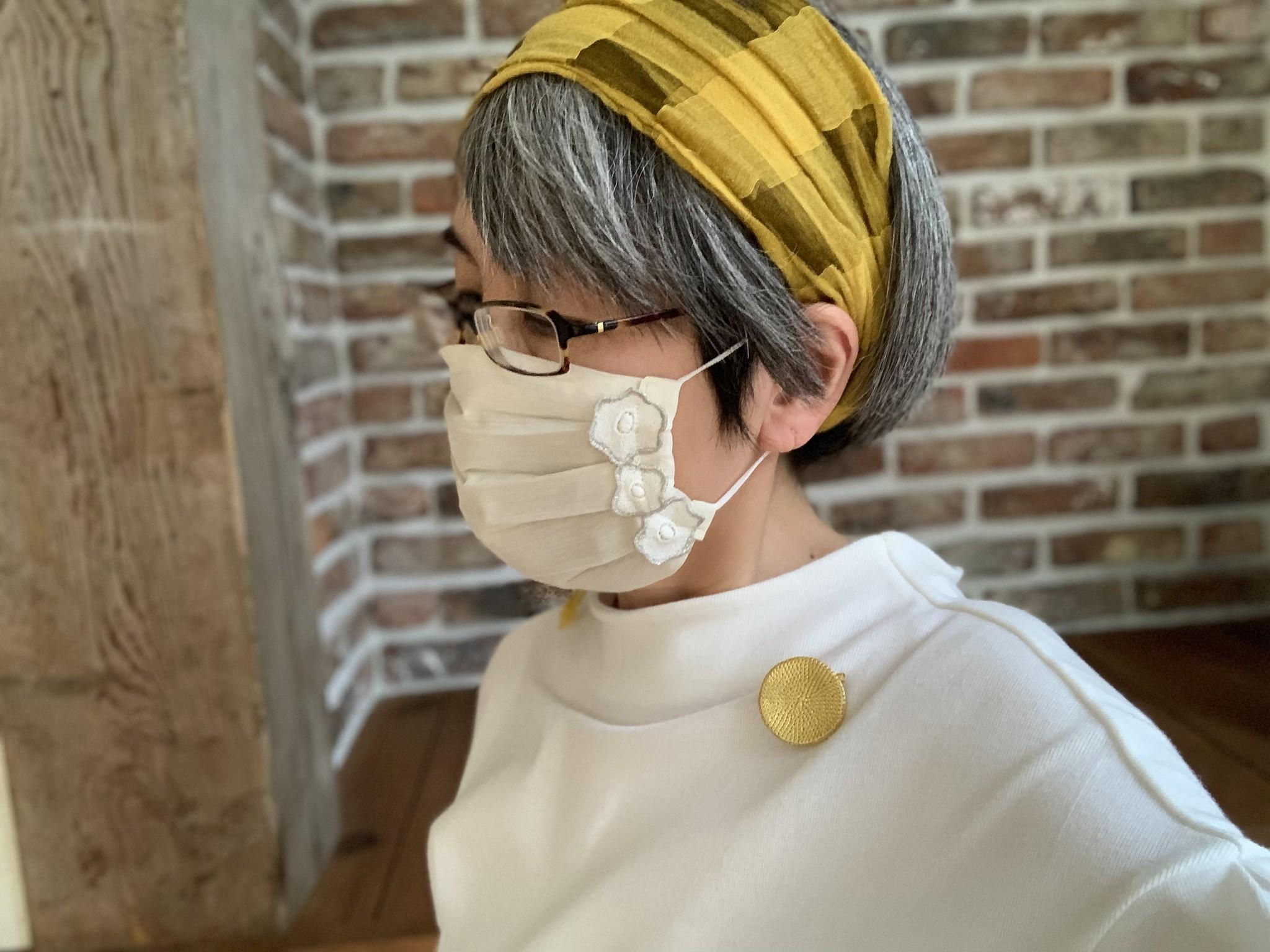 Gold-Knotお出かけマスク、着用