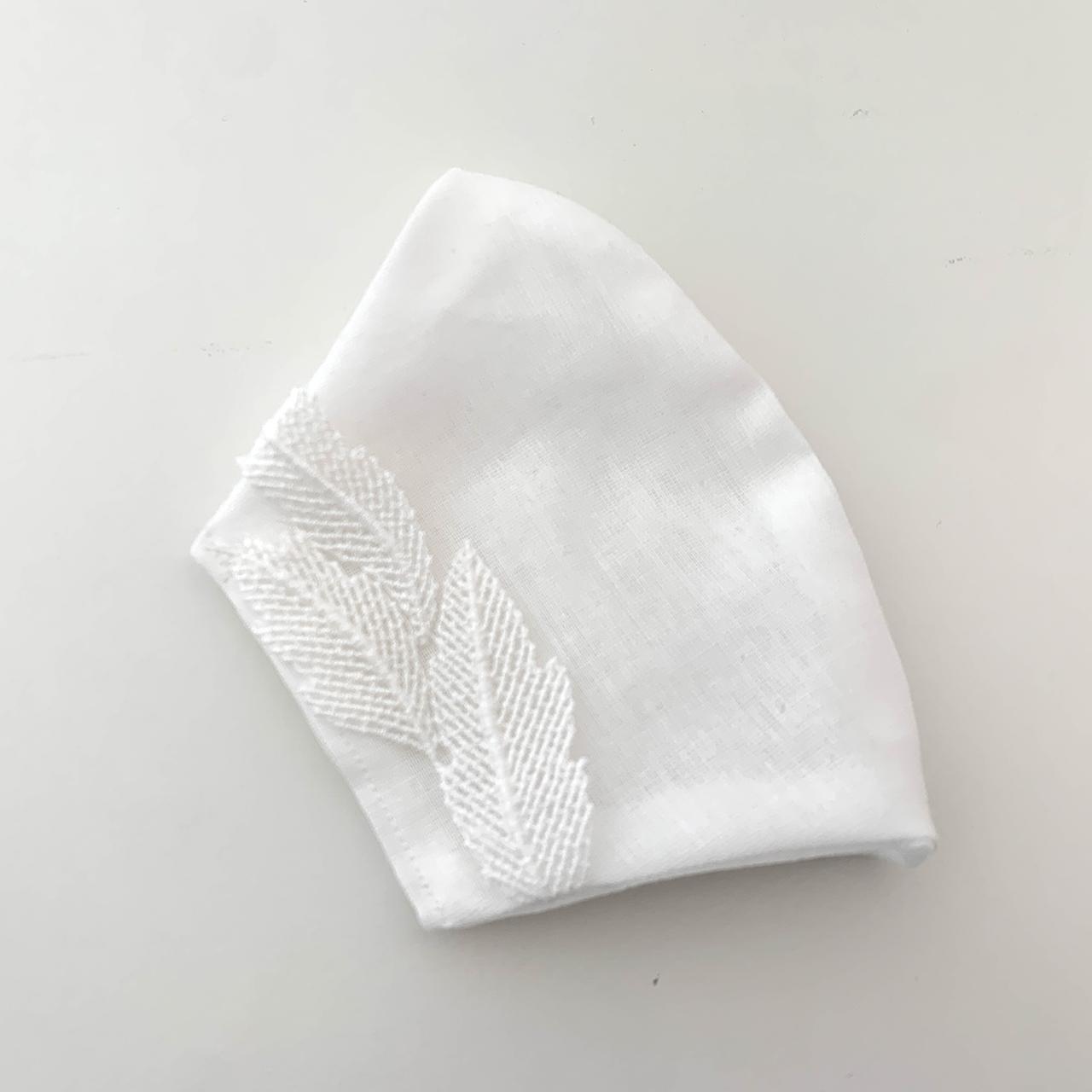 インナーマスクカバー「葉っぱ」 不織布マスクの下にするゴムなしのガーゼのマスクカバーです