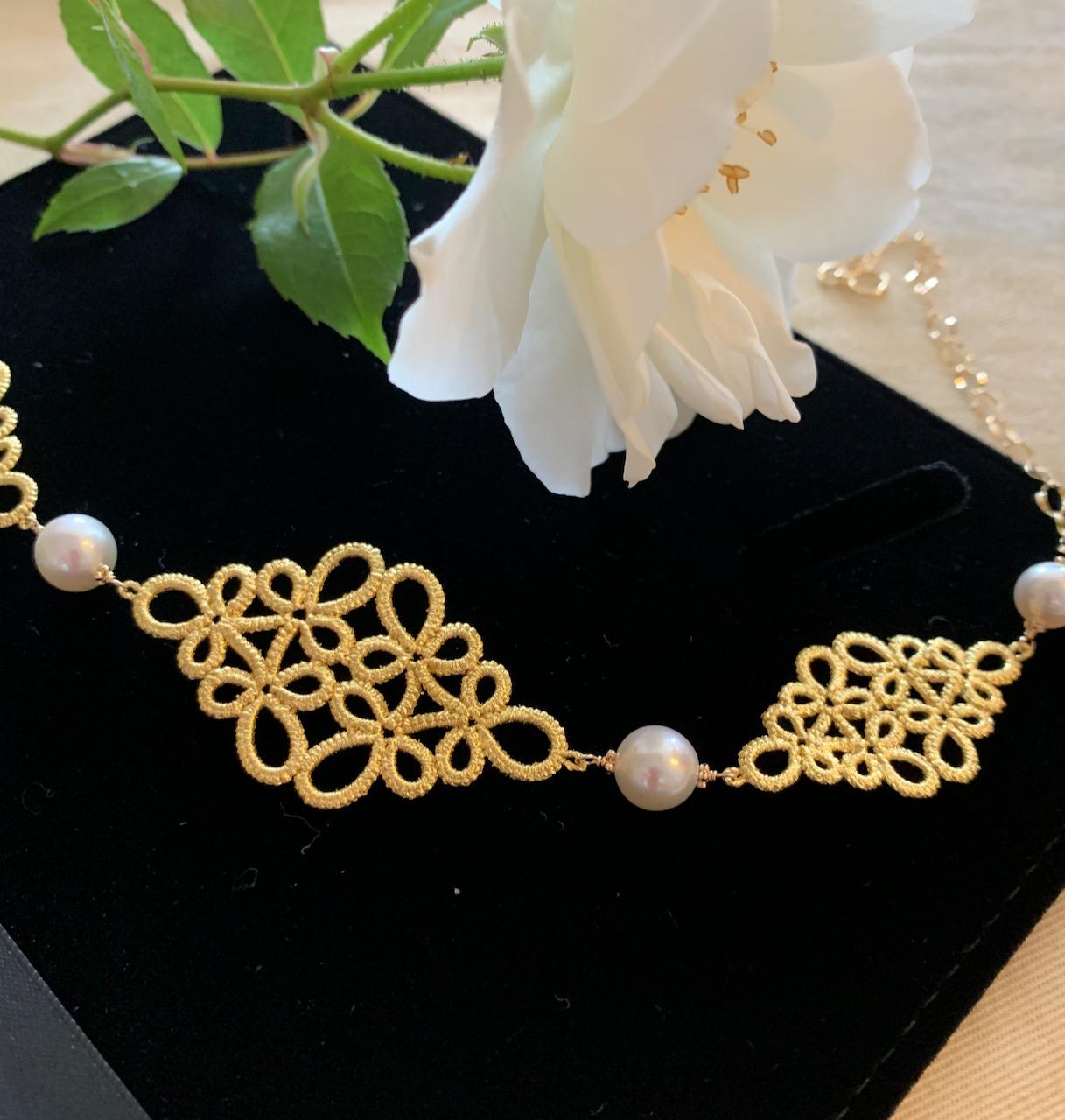 緊迫ジュエリーGold-Knot、金箔レースとあこや真珠。グレードアップの作品です。